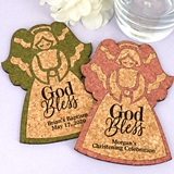 Personalized 'God Bless' Angel-Shaped Cork Coasters (15 Colors)