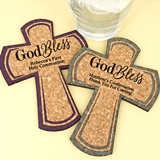 Personalized 'God Bless' Cross-Shaped Cork Coasters (15 Colors)