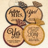 Personalized Diamond Ring-Shaped Cork Coasters (4 Sayings; 15 Colors)