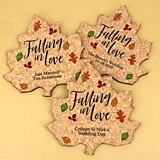 Personalized Fall Leaf-Shaped Cork Coasters (3 Sayings)