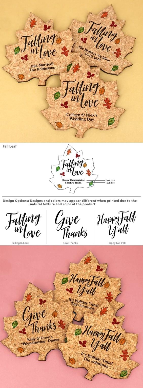 Personalized Fall Leaf-Shaped Cork Coasters (3 Sayings)
