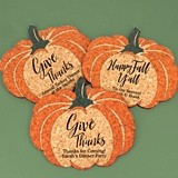 Personalized Pumpkin-Shaped Cork Coasters (3 Sayings)