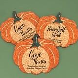 Personalized Pumpkin-Shaped Cork Coasters (3 Sayings)