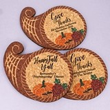 Personalized Cornucopia-Shaped Cork Coasters (3 Sayings)