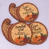 Personalized Cornucopia-Shaped Cork Coasters (3 Sayings)