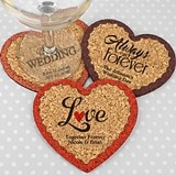 Personalized Wedding Heart-Shaped Cork Coasters (3 Sayings; 15 Colors)