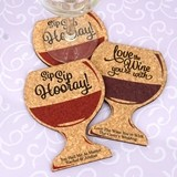 Personalized Wine Glass-Shaped Cork Coasters (3 Sayings; 15 Colors)