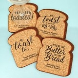 Personalized Toast-Shaped Cork Coasters (4 Sayings)