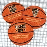 Ducky Days Personalized Basketball-Shaped Cork Coasters (4 Designs)