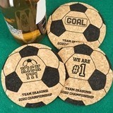 Ducky Days Personalized Soccer Ball-Shaped Cork Coasters (3 Designs)
