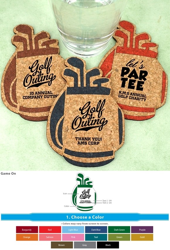 Ducky Days Personalized Golf Bag-Shaped Cork Coasters (2 Designs)