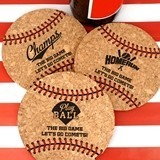 Ducky Days Personalized Baseball-Shaped Cork Coasters (3 Designs)