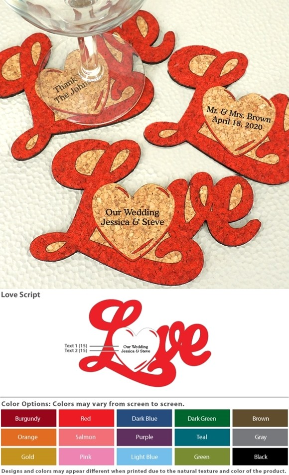 Ducky Days Personalized Love Script w/ Heart Cork Coasters (15 Colors)