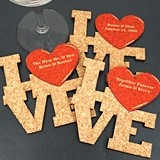 Ducky Days Personalized Love Square w/ Heart Cork Coasters (15 Colors)