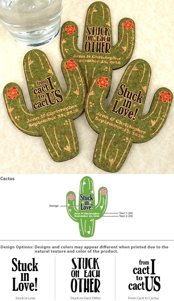 Ducky Days Personalized Cactus-Shaped Cork Coasters (3 Sayings)