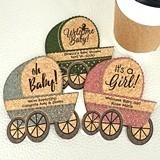 Ducky Days Personalized Baby Stroller-Shaped Cork Coasters (6 Sayings)