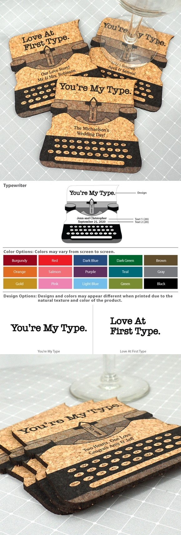 Personalized Typewriter-Shaped Cork Coasters (2 Sayings; 15 Colors)