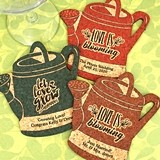 Personalized Watering Can-Shaped Cork Coasters (2 Sayings; 15 Colors)
