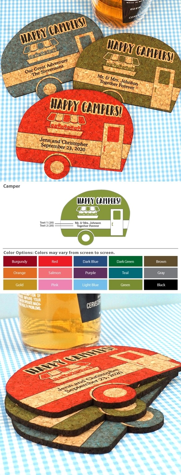 Personalized Vintage Camper-Shaped Cork Coasters (15 Colors)