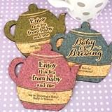Personalized Baby Shower Tea Pot-Shaped Cork Coasters (15 Colors)