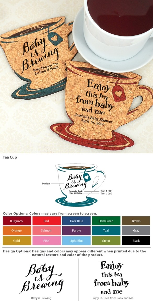Personalized Baby Shower Tea Cup-Shaped Cork Coasters (15 Colors)