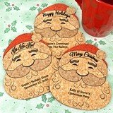 Personalized Santa Claus-Shaped Cork Coasters (4 Sayings; 15 Colors)