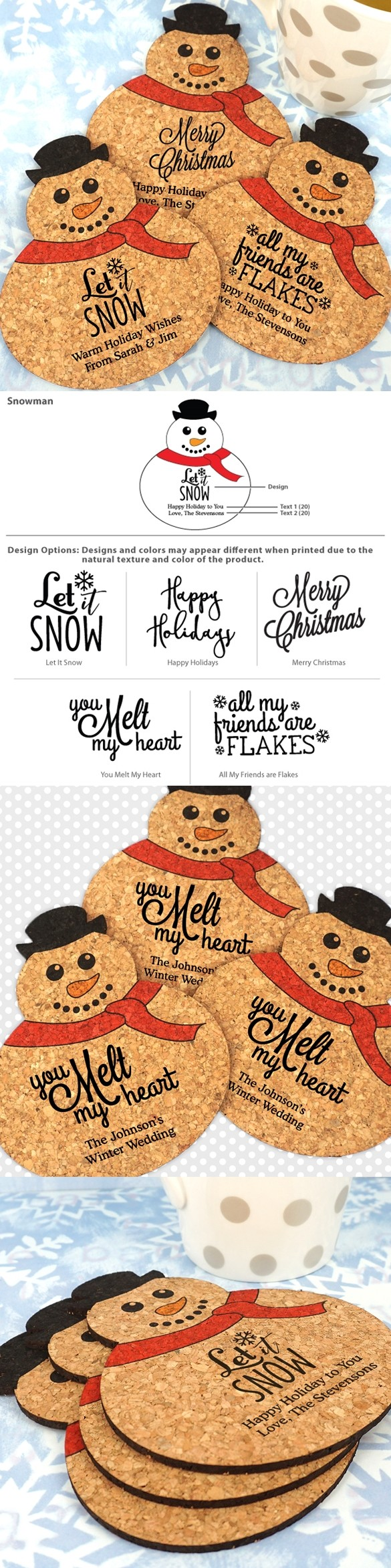Personalized Snowman-Shaped Cork Coasters (5 Sayings; 15 Colors)