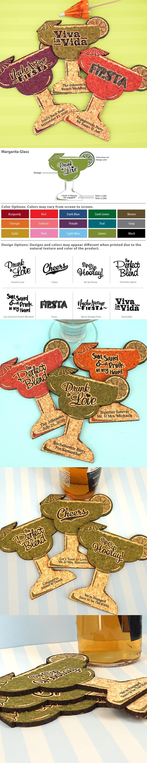 Personalized Margarita Glass-Shaped Cork Coaster (8 Sayings/15 Colors)