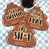 Personalized Poop Emoji Cork Coasters (3 Sayings)