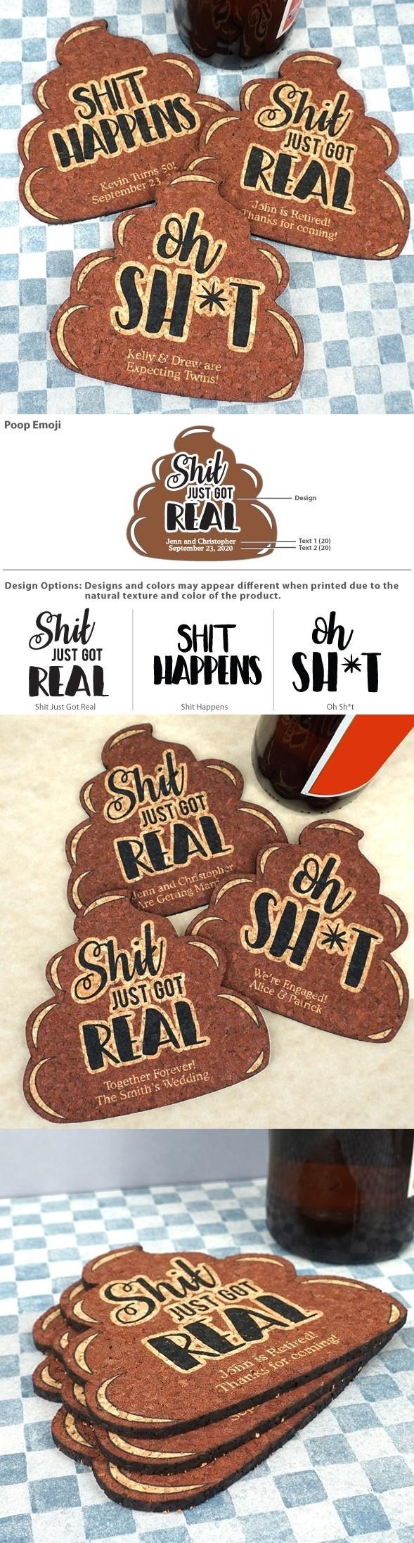 Personalized Poop Emoji Cork Coasters (3 Sayings)