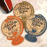 Personalized World Globe-Shaped Cork Coasters (15 Colors)