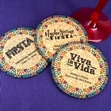 Personalized Fiesta Pattern Round Cork Coasters (3 Sayings)