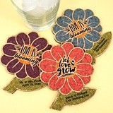 Personalized Spring Flower Cork Coasters (2 Sayings; 15 Colors)