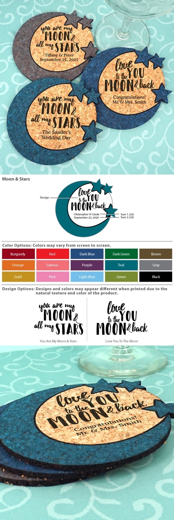 Personalized Wedding Moon & Stars Cork Coasters (2 Sayings; 15 Colors)