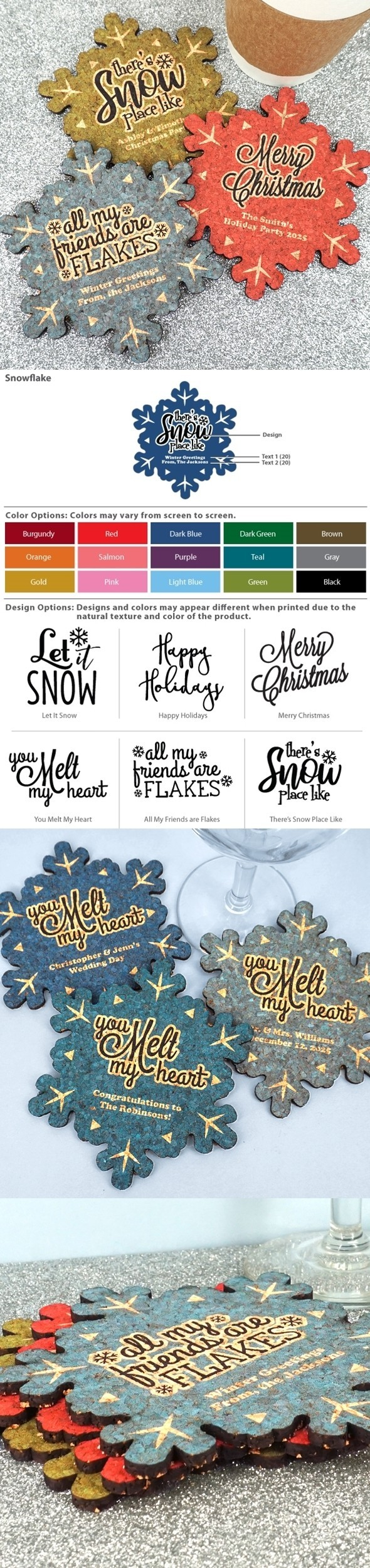 Personalized Snowflake Cork Coasters (6 Sayings; 15 Colors)