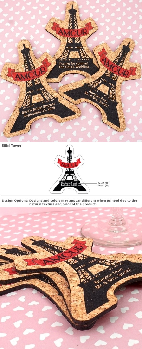 Personalized Eiffel Tower Shaped Amour-Themed Cork Coasters