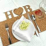 Personalized Initials with Icon Natural-Cork Placemats (17 Designs)