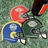 Personalized Football Helmet-Shaped Wood Coasters (4 Designs)