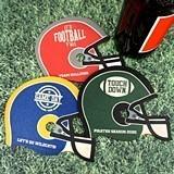 Personalized Football Helmet-Shaped Wood Coasters (4 Designs)