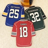 Personalized Hockey-Jersey-Shaped Wood Coasters