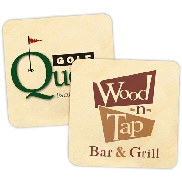 Custom Corporate Logo Birch-Wood Square Coasters