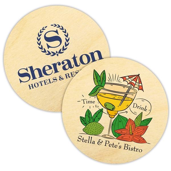 Custom Corporate Logo Birch-Wood Round Coasters