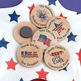 Ducky Days Personalized Wooden Nickel Magnets with Patriotic Designs