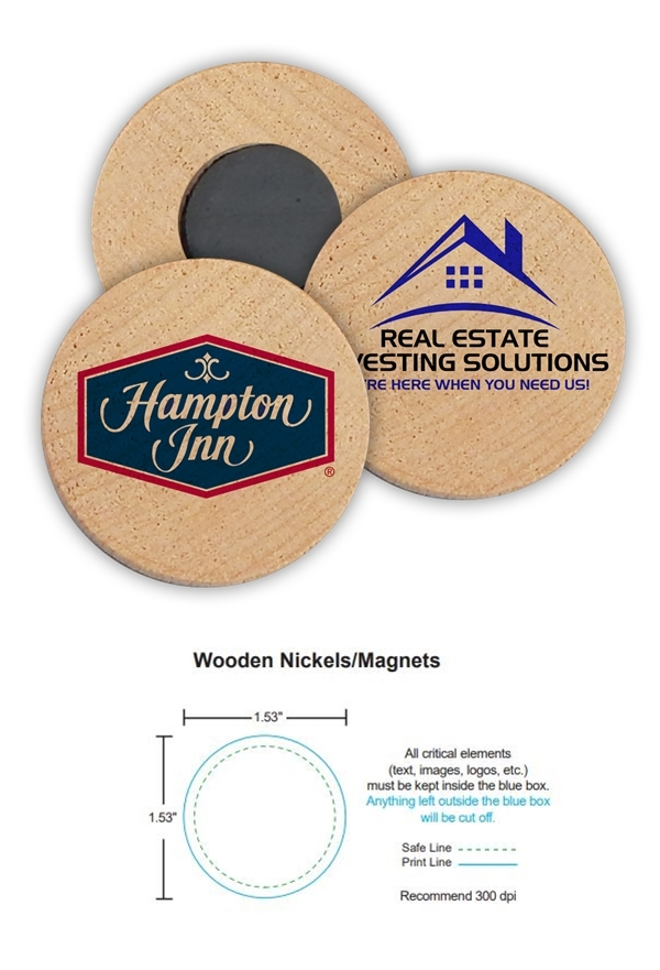 Custom Corporate Logo Promotional Wooden Nickel Magnets