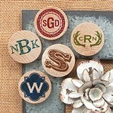 Monogrammed Wooden Nickel Magnets (17 Designs)