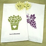 Personalized White Cotton Tea Towels (125 Designs)