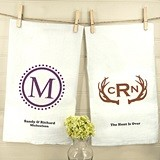 Monogrammed White Cotton Tea Towels (17 Designs)