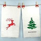 Personalized White Cotton Holiday Tea Towels (25 Designs)