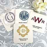 Monogrammed Square White Paper-Board Coasters (17 Designs)