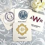 Monogrammed Square White Paper-Board Coasters (17 Designs)